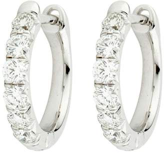 Jude Frances 18K White Gold with 0.60ct Diamond Hoop Earrings