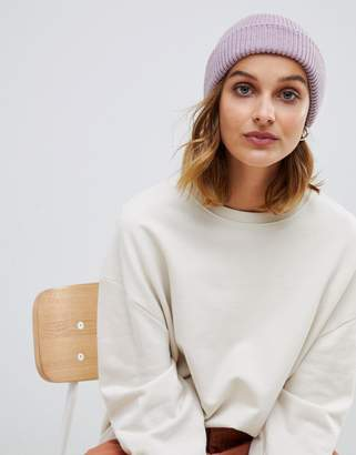 Asos DESIGN boyfriend double roll beanie In recycled polyester