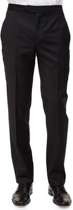 Ermenegildo Zegna Satin-Taped Formal Wool Trousers, Black
