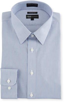 Neiman Marcus Men's Trim-Fit Non-Iron Plain Weave Striped Dress Shirt