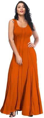Aecibzo Women's Round Neck Slim Sleeveless Pleated Long Maxi Dress (S, )