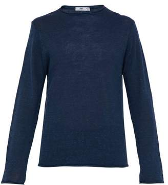 Inis Meáin Inis Meain - Crew Neck Linen And Silk Blend Sweater - Mens - Blue