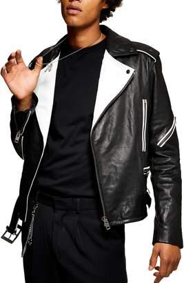 Topman Contrast Leather Biker Jacket