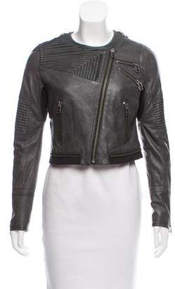 Yigal Azrouel Rib Knit Trimmed Leather Jacket