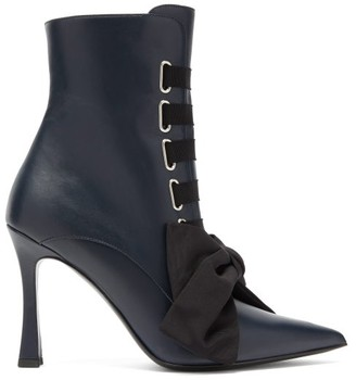 Tabitha Simmons Farren Lace Up Leather Boots - Womens - Black Navy