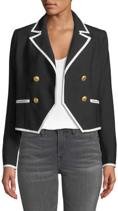 Frame Double-Breasted Wool Jacket w/ Contrast Edges