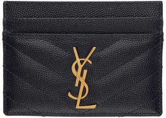 Saint Laurent Navy Monogramme Card Holder