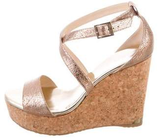 Jimmy Choo Embossed Leather Wedge Sandals