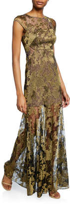 Halston Metallic Embroidered Lace Cap-Sleeve Gown