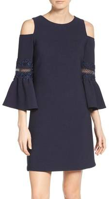 Eliza J Lace Applique Crepe Cold Shoulder Dress