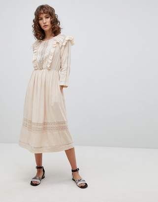 Suncoo Midi Folk Dress with Ruffle Front