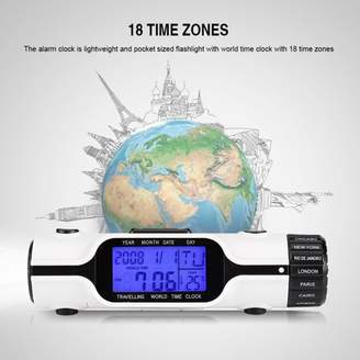 HURRISE Flashlight LED Digit World Time Travel Alarm Clock Thermometer Outdoor