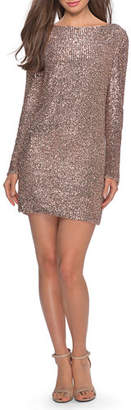 La Femme Sequin High-Neck Long-Sleeve T-Shirt Style Cocktail Dress