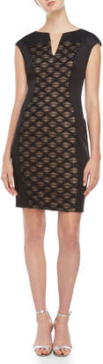 Connected Apparel Black Abstract Mesh Panel Sheath Dress
