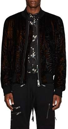 Haider Ackermann Men's Palm-Leaf Velvet Devoré Bomber Jacket