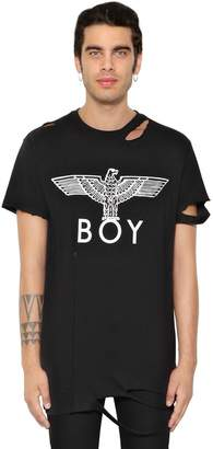 Boy London Destroyed Logo Printed Jersey T-Shirt