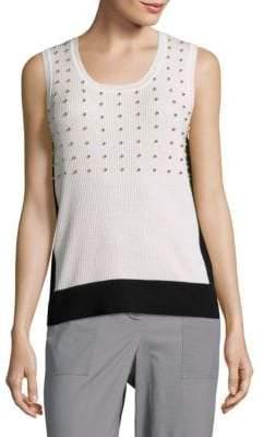 Elie Tahari Beaded Rib-Knit Wool Top