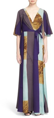 Tracy Reese Print Stretch Silk Wrap Kimono Maxi Dress $498 thestylecure.com