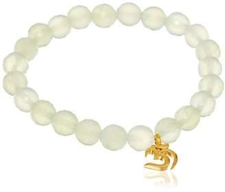 Satya Jewelry 8mm Green Onyx Gold Eye Stretch Bracelet