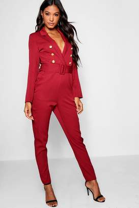boohoo Woven Military Button Self Fabric Belt Blazer Jumpsuit