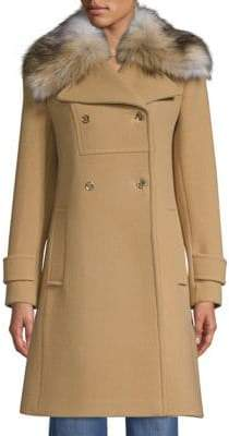 MICHAEL Michael Kors New Fitted Wool-Blend Faux Fur Coat