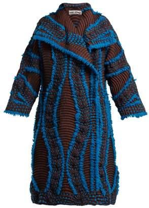 Issey Miyake Eagle Pleated Coat - Womens - Blue Multi