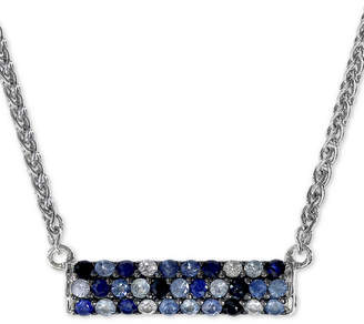 """Effy Sapphire Bar 16"""" Pendant Necklace (9/10 ct. t.w.) in Sterling Silver"""
