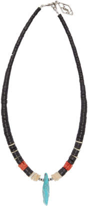 Saint Laurent Black Wood and Stone Necklace