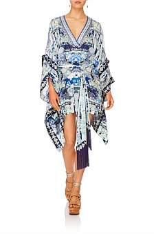 Camilla Cloud Dancer Double Layer Kimono Sleeve Dress