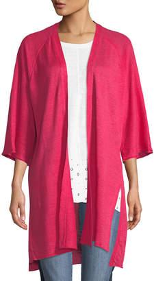 Donna Karan 3/4-Sleeve Linen Duster Cardigan