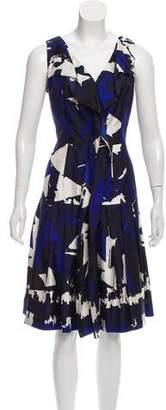 Oscar de la Renta Silk Abstract Print Dress