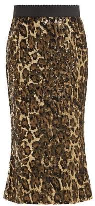 Dolce & Gabbana Leopard Print Sequinned High Rise Pencil Skirt - Womens - Leopard