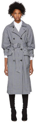 Tibi Black and White Gingham Trench Coat