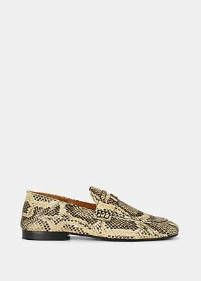 Isabel Marant Women's Fezzy Python-Stamped Leather Penny Loafers - Red
