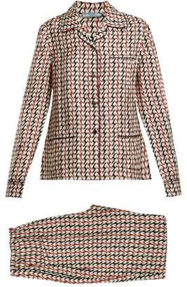 Prada - Geometric Print Silk Pyjama Set - Womens - Green Print