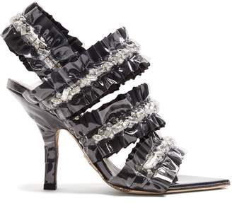 Cesare Paciotti BY MIDNIGHT Crystal-embellished satin sandals