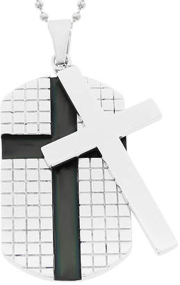 FINE JEWELRY Mens Stainless Steel Dog Tag and Moveable Cross Pendant
