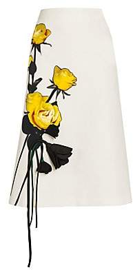 Prada Women's Painted & Origami Satin Rose A-Line Skirt