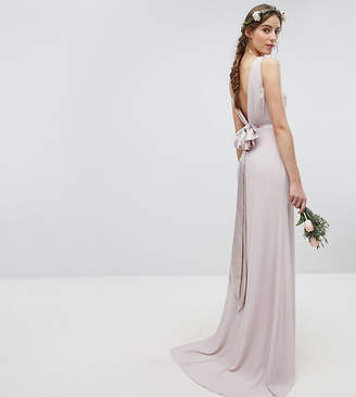 TFNC Tall wedding sateen bow back maxi dress