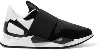 Givenchy Runner Elastic Leather And Suede-paneled Neoprene Sneakers - Black