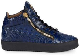 Giuseppe Zanotti Schafla Croco-Embossed High-Top Sneakers