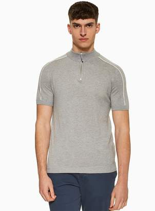 TopmanTopman Grey Tipped Zip Roll Neck Jumper