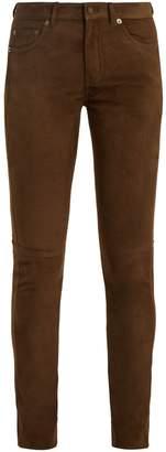 Saint Laurent Mid-rise skinny suede trousers