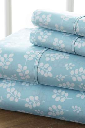 IENJOY HOME Home Spun Premium Ultra Soft Wheat Pattern 4-Piece California King Bed Sheet Set - Pale Blue