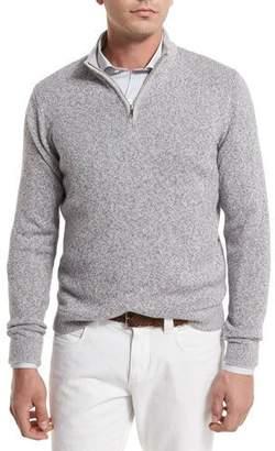 Loro Piana Mezzocollo Cashmere-Silk Quarter-Zip Pullover, Gray $1,285 thestylecure.com