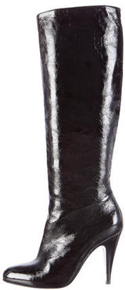 Brian Atwood Patent Leather Semi-Pointed Toe Boots $220 thestylecure.com