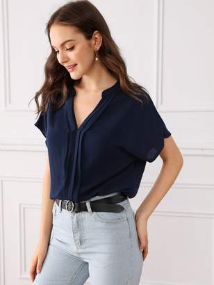Shein Solid Batwing Sleeve Pleated Front Top