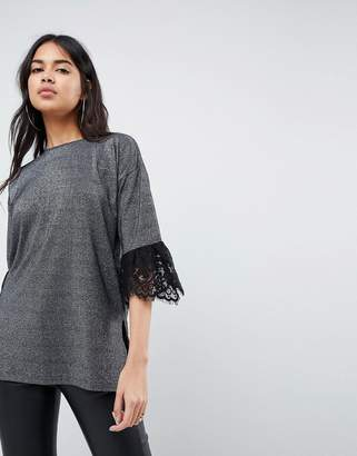 Asos Design T-Shirt in Metallic with Lace Trim