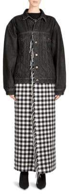 Balenciaga Fringe Plaid Blanket Denim Jacket