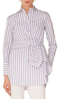 Akris Punto Long-Sleeve Button-Down Wrap-Waist Striped Tunic Blouse